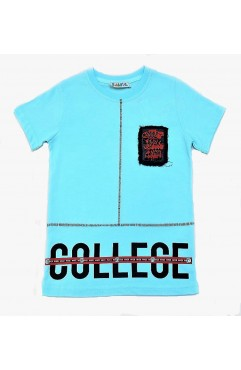 COLLEGE COOL PRINTING EMBROIDERY TSHIRT