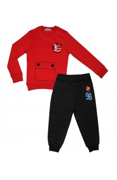 KIDS FUN TIME CRAB PRINT EMBROIDERY SUIT
