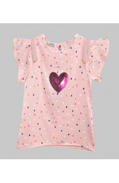 CHILDREN HEART EMBROIDERY POINTED PATTERNED DRESS
