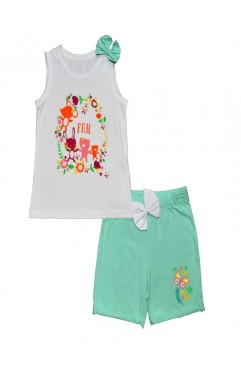 FUN FLOWER CAT PRINTED SHORTS TEAM
