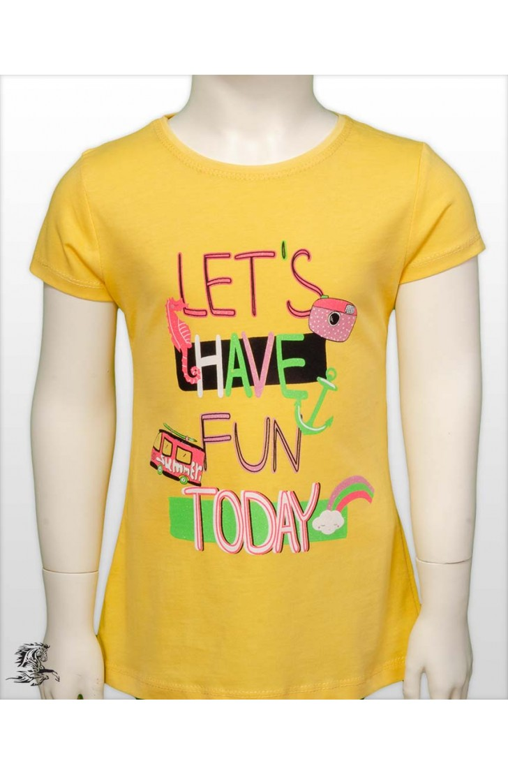 LET'S HAVE FUN TODAY PRINTED GIRL KIDS TSHIRT