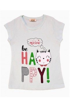 BE HAPPY MEOW PRINT TSHIRT