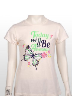 TODAY WILLBE AWESOME PRINTED GIRL KIDS TSHIRT