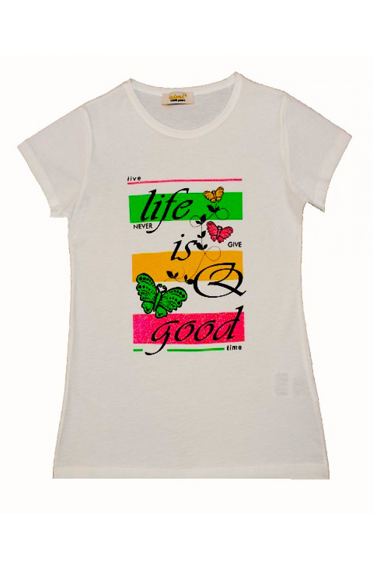 LİFE İS GOOG BUTTERFLY PRINTING TSHIRT
